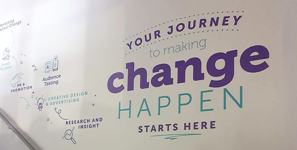 Wall art in the office that says 'your journey to making change happen'.