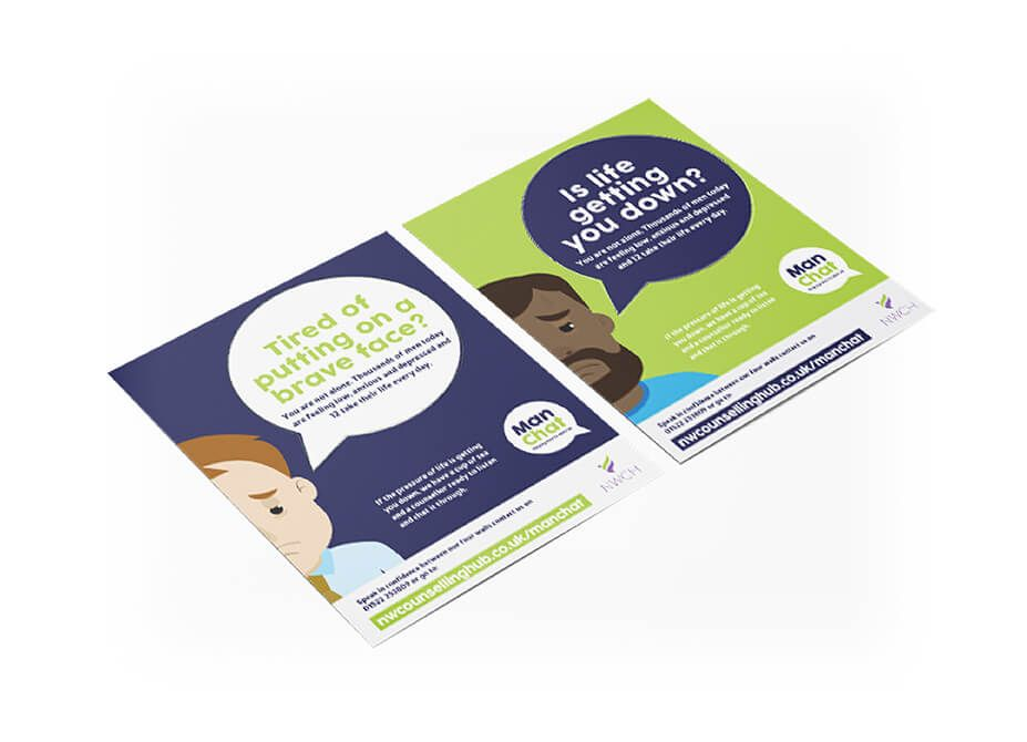 2 campaign flyers depicting depressed male characters with encouraging words within speech bubbles above them.
