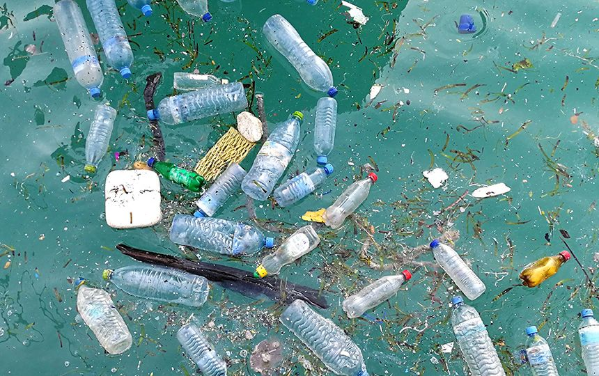 Bottles and other plastic waste floating in polluted waters.
