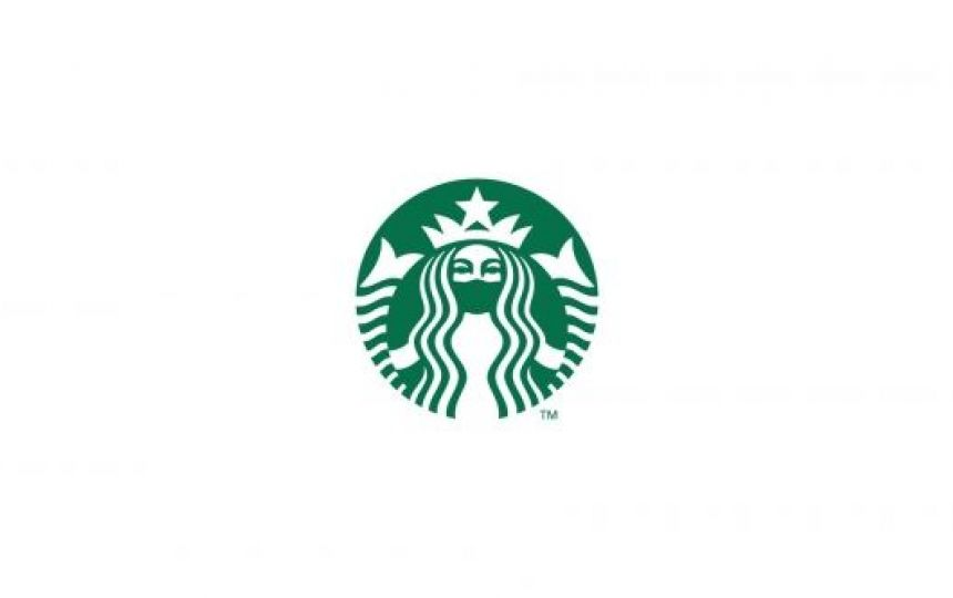 The Starbucks Coffee logo featuring the signature mermaid wearing a face mask.