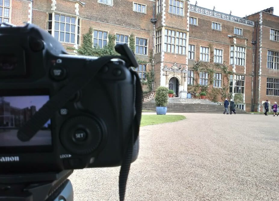 A camera aimed at Hatfield House in Hertfordshire while shooting on location.