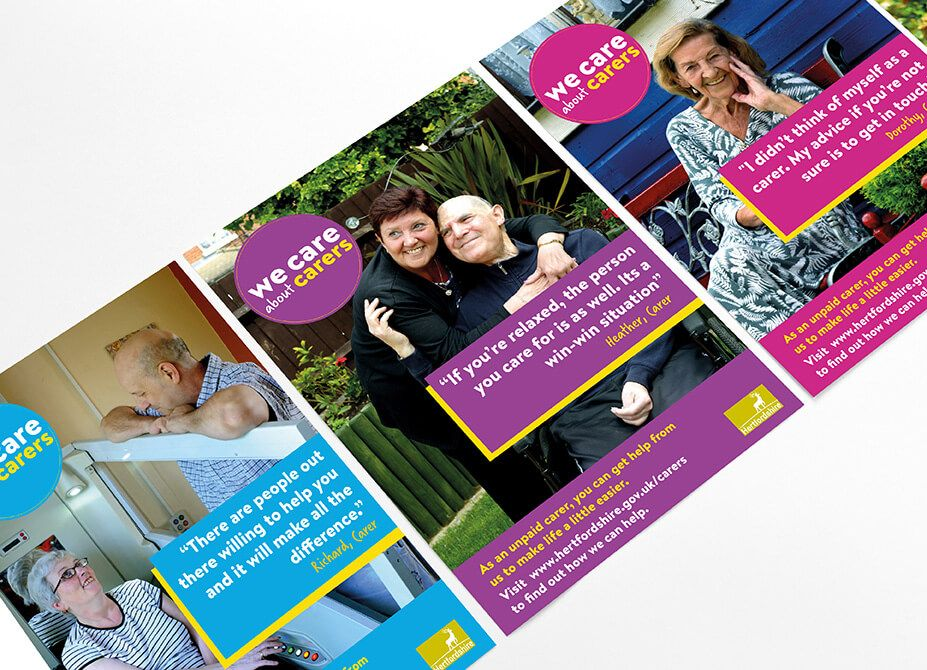A row of posters showing carers and care users accompanied by a quote from the caregiver.
