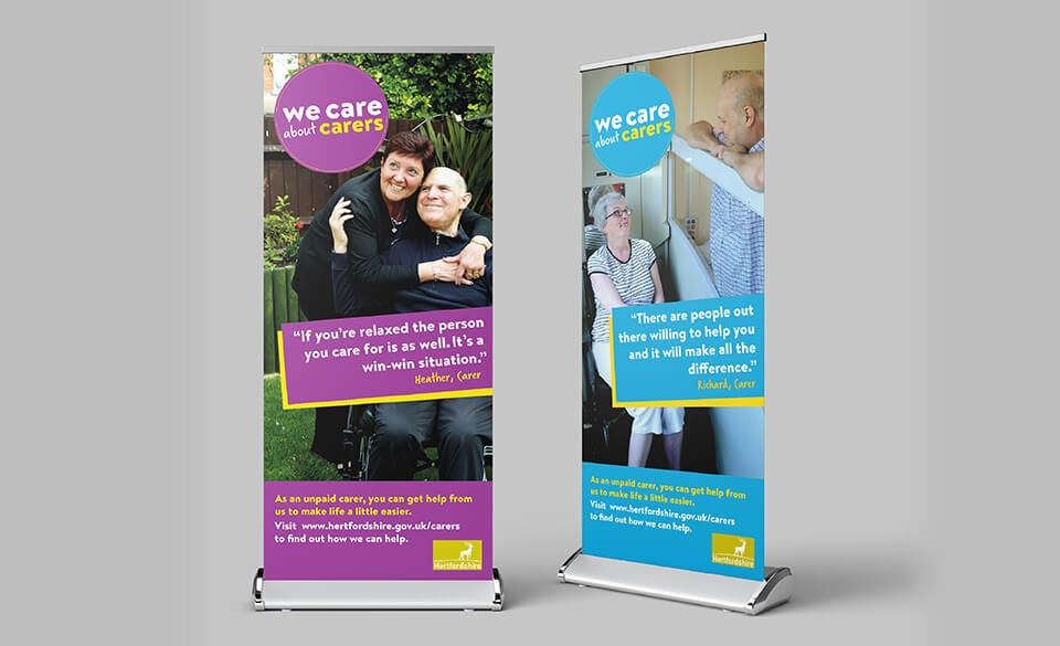 Two pop-up banner designs featuring carers with their care user.