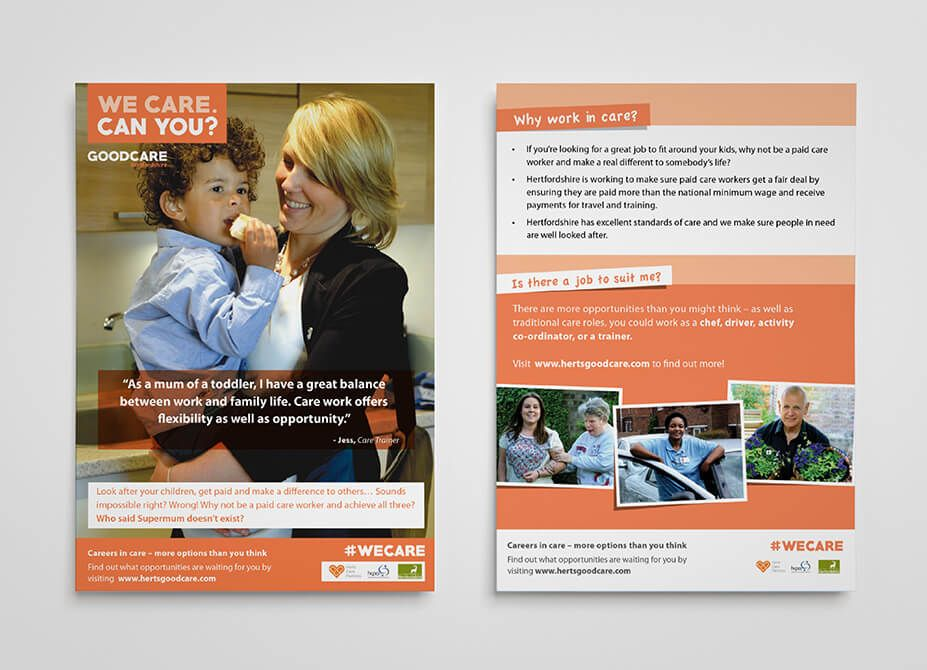 Designs for the front and back of a flyer for the Good Care campaign.