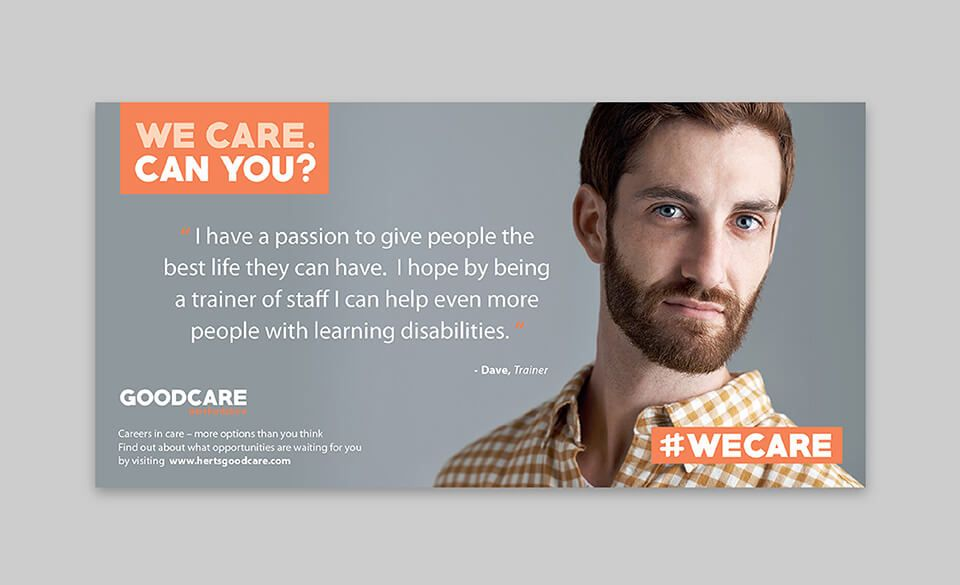 A poster design featuring a young male care trainer with a quote about their work.