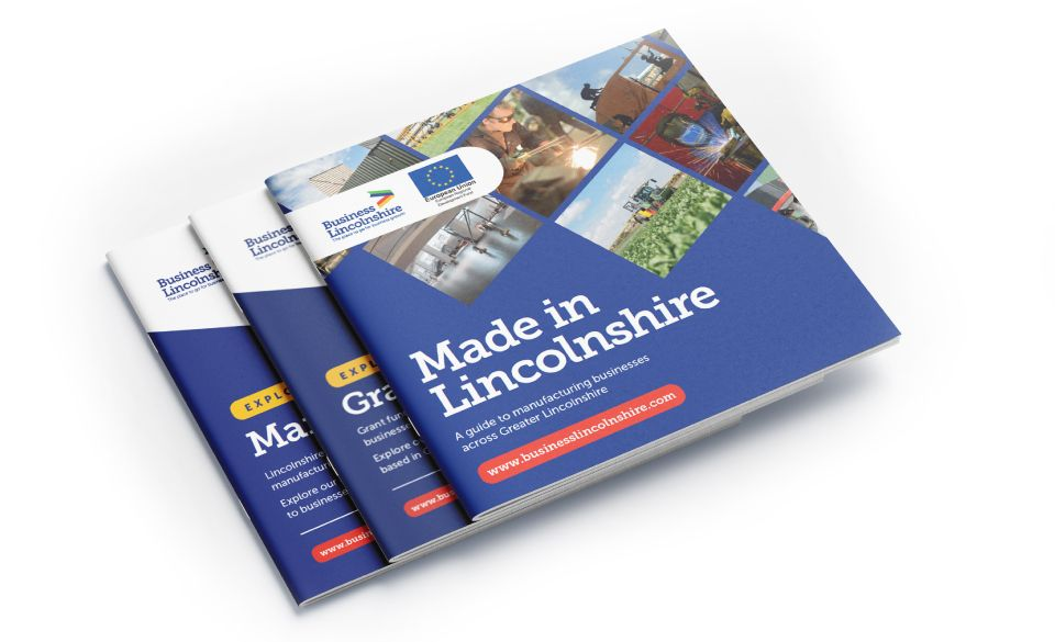 Three Business Lincolnshire informational brochures stacked on top of each other.