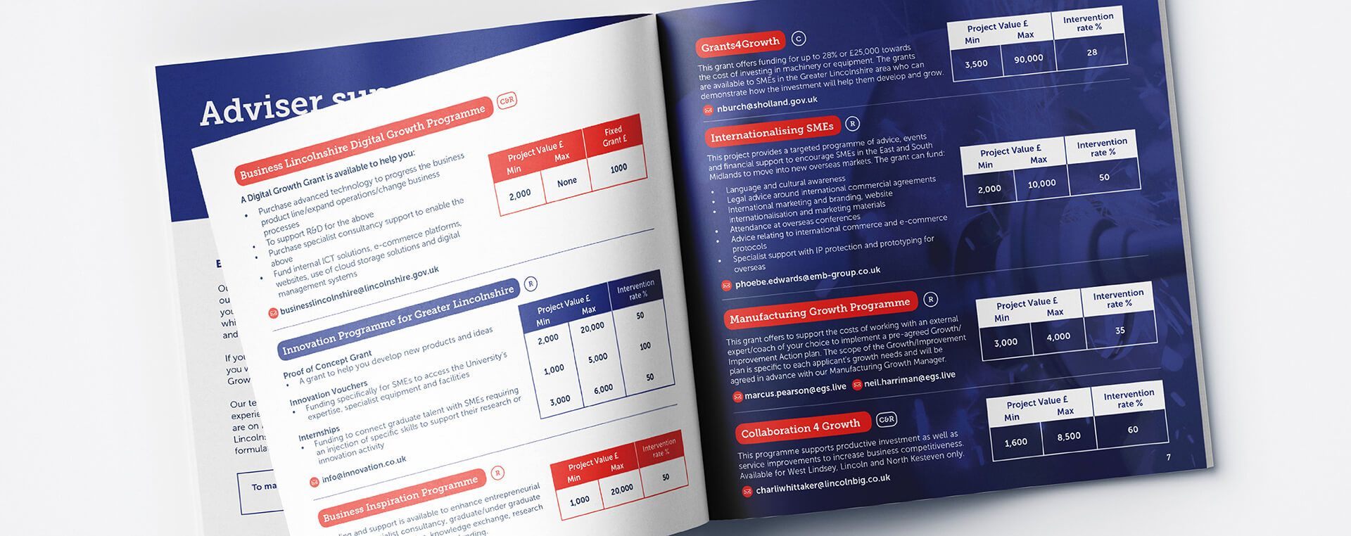 An opened business growth guide revealing pages detailing different growth support programmes.