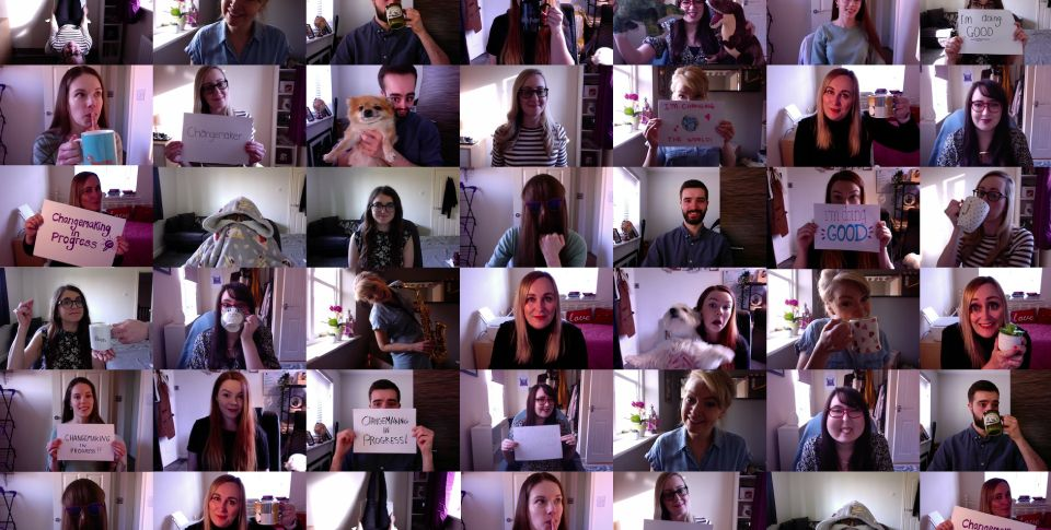Grid layout of the Social Change UK team working from home and drinking tea