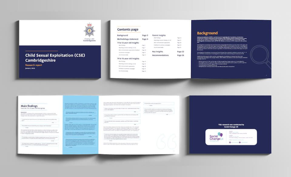 Page spreads from the Child Sexual Exploitation evaluation report.