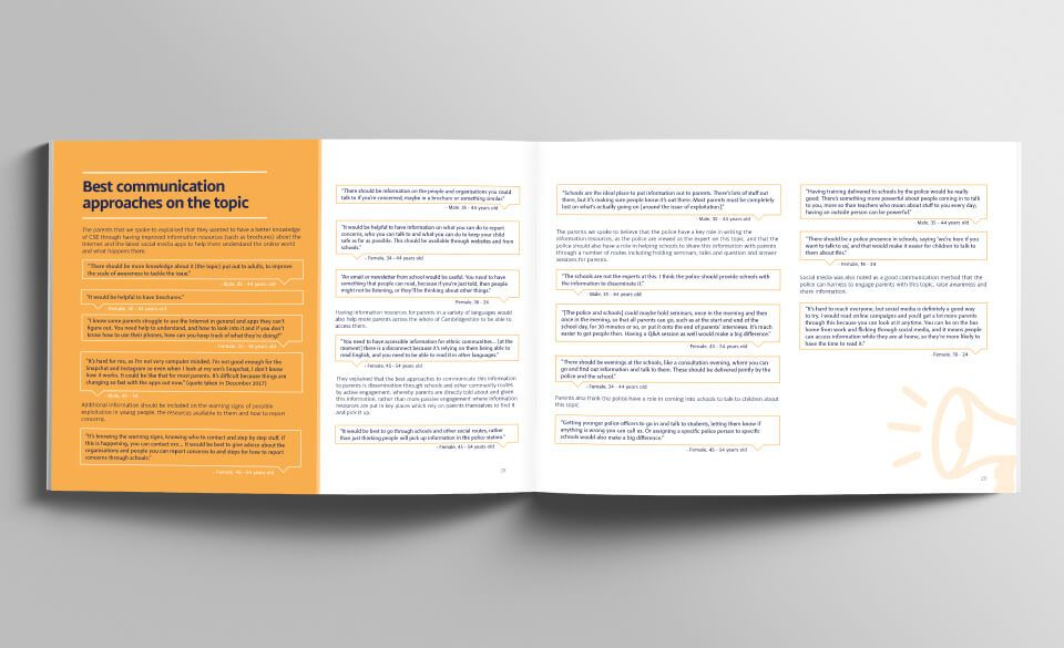 A page spread from the Child Sexual Exploitation evaluation report.