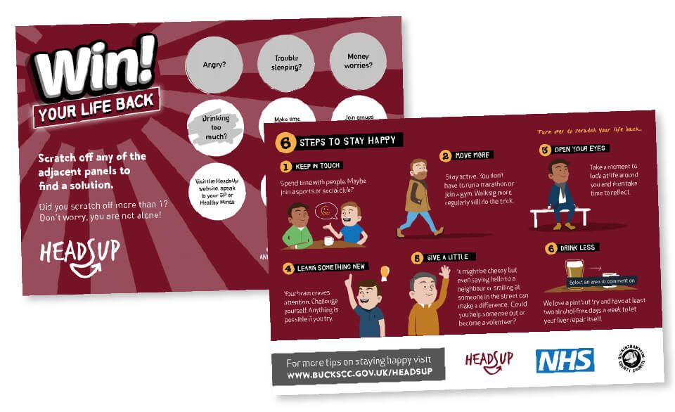 Front and back sides of a scratch card made for the campaign featuring steps to stay happy.