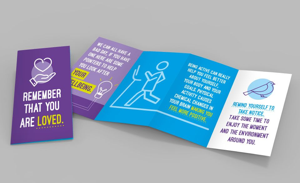 A HeadsUp branded z-card leaflet featuring small tips and motivational words.