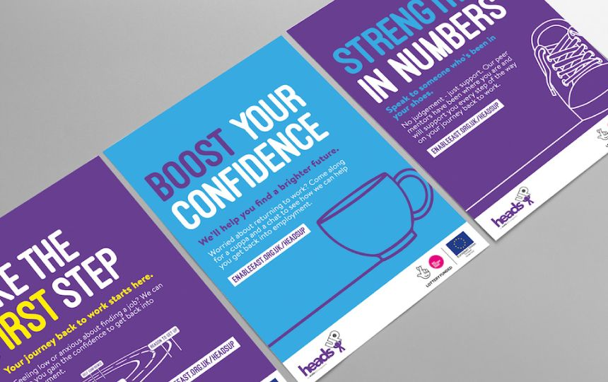 Poster designs for the Enable East Heads Up campaign.