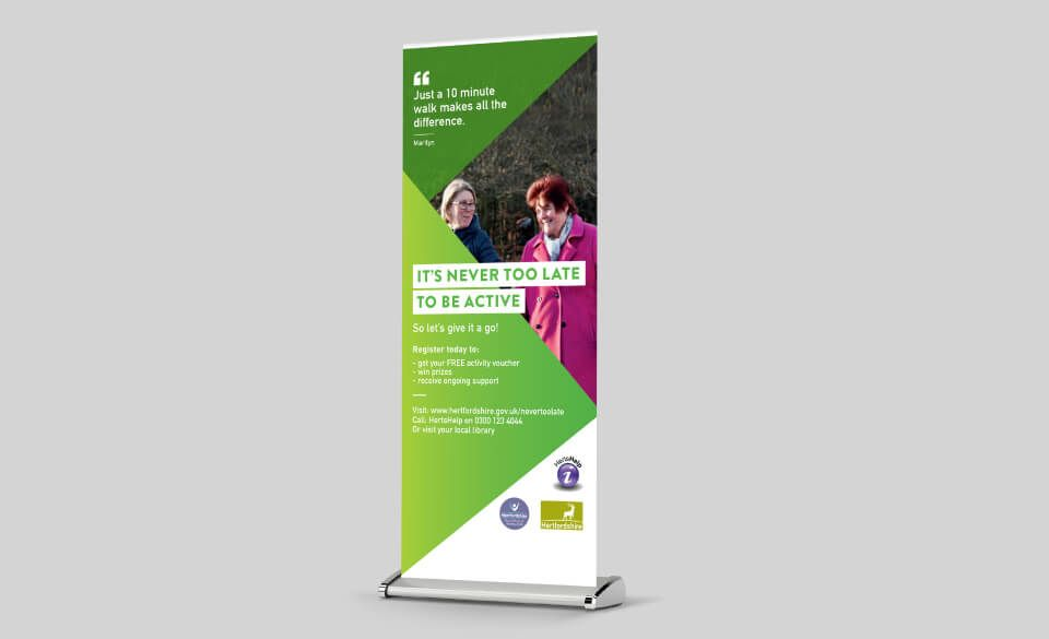 A pop-up banner showing older women walking, the campaign tagline and a quote.