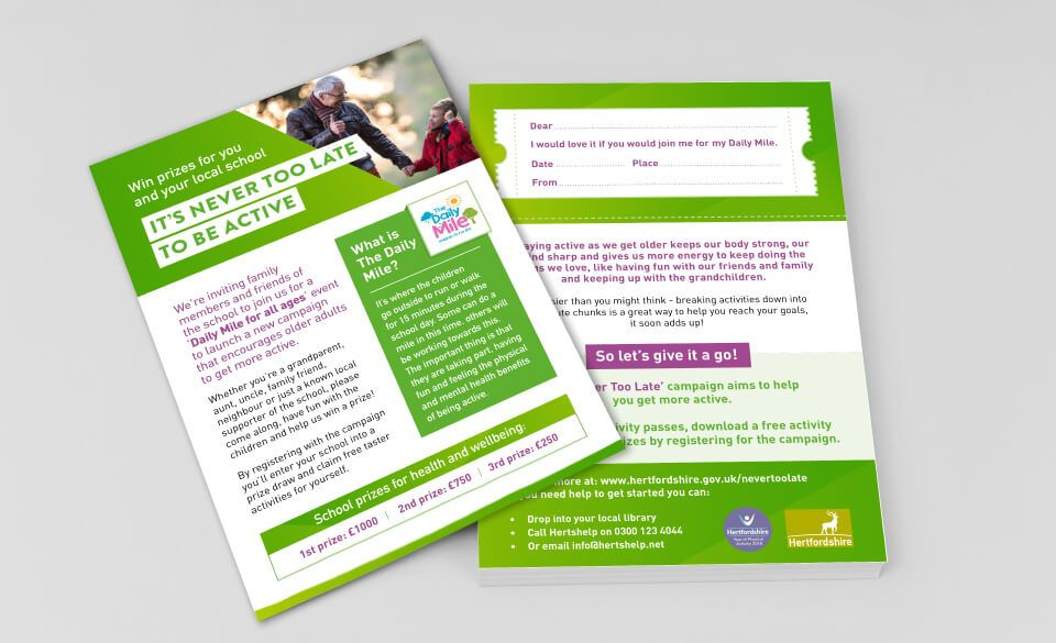 A stack of flyers featuring an older man walking with a child, urging readers to be active.