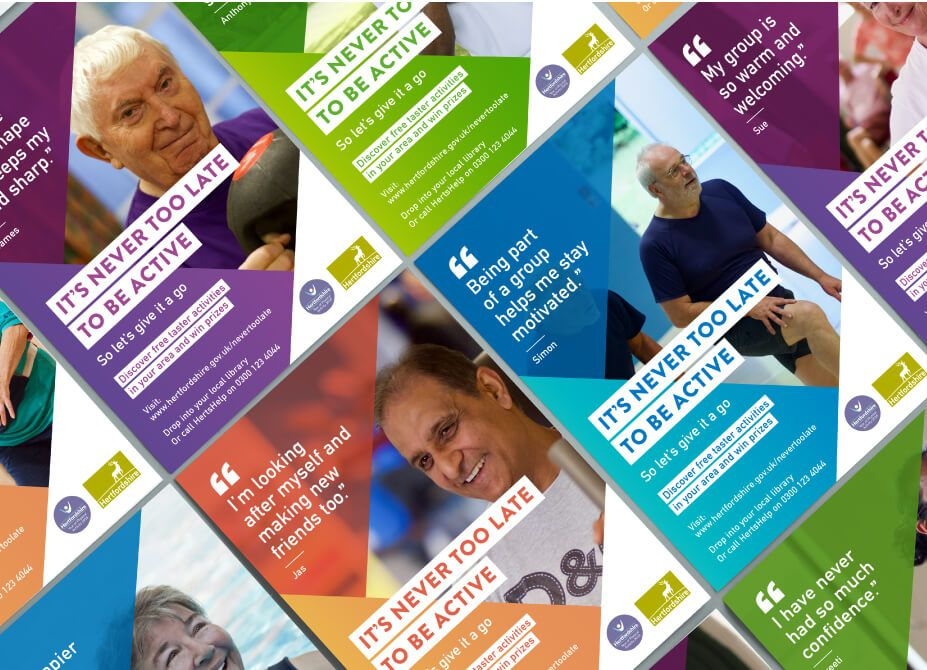 A montage of campaign posters featuring an elderly person being active and a motivational quote.