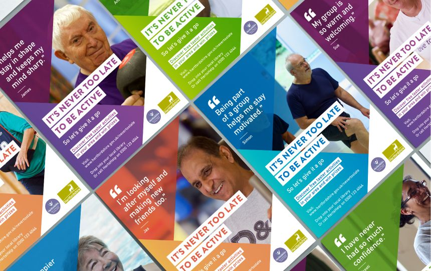 A montage of campaign posters featuring an image of an elderly person being active along with a motivational quote from each.
