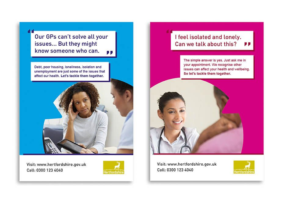 Posters featuring doctors speaking to patients with social prescribing related quotes and insights.