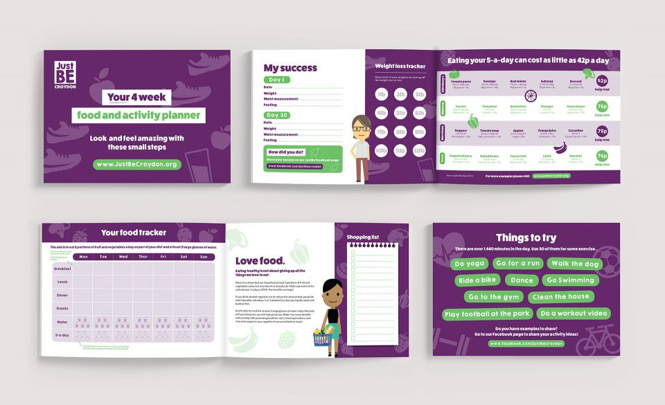 An image of four page spreads for a designed food and activity planner for Just Be Croydon.