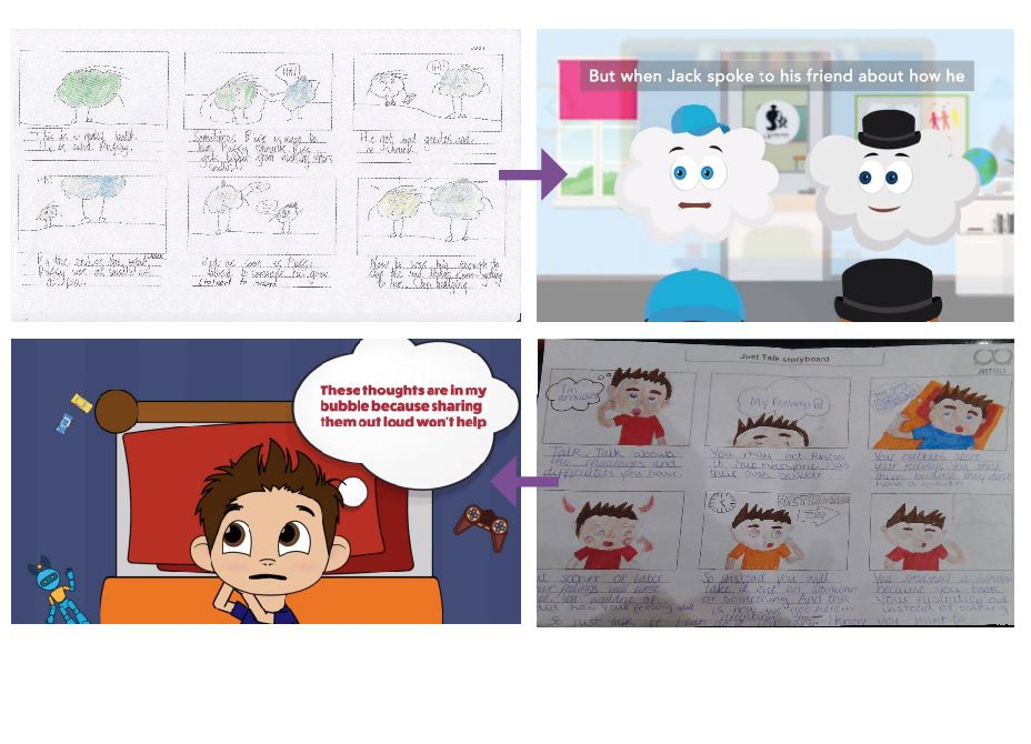 The Just Talk animation initial storyboards alongside the animated version of the same scene.
