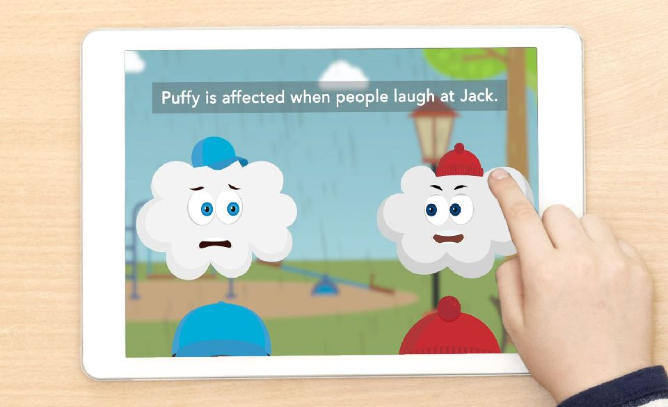 An Ipad displays the Just Talk animation video.