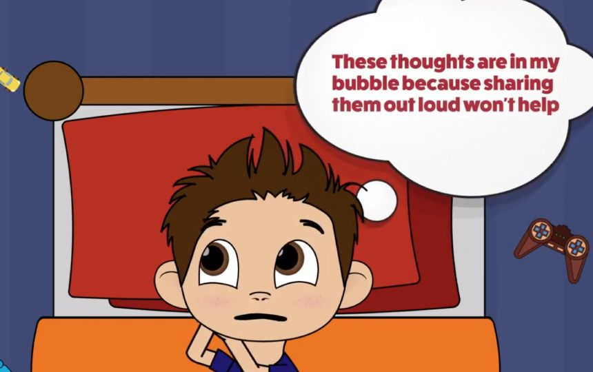 Still of the Just Talk Hertfordshire animation: a young boy with a thought bubble is lying in bed.