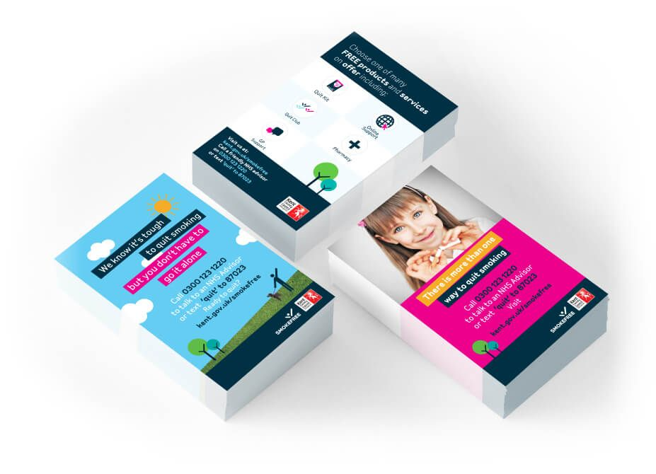 Three designed business cards for the Kent Smoke free campaign.