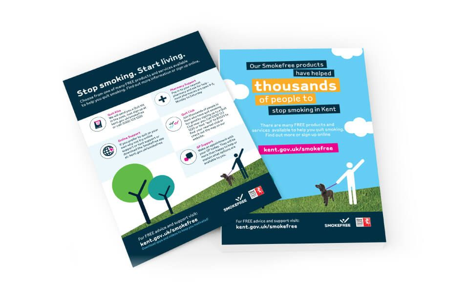 A5 flyer design, front and back, for Kent Smoke free campaign.