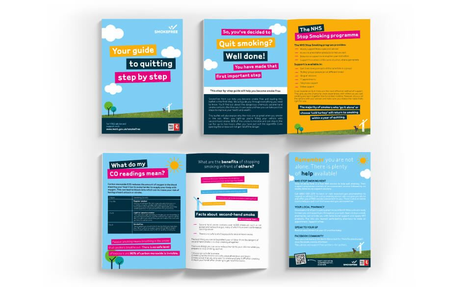 Mock up image of page spreads for the Kent Smoke free campaign leaflet.