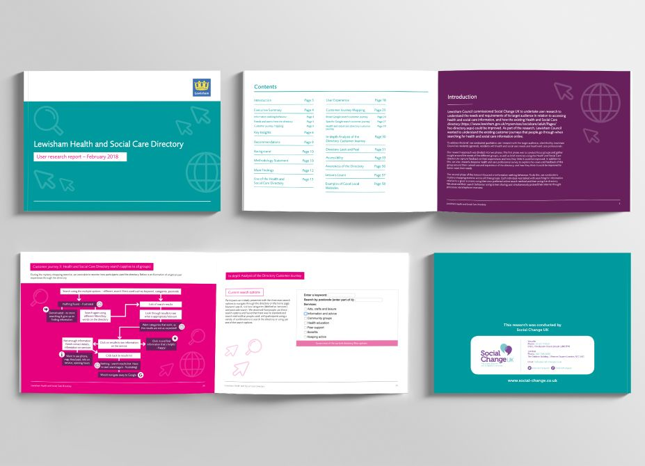 An overhead view of 4 reports laid flat on a surface to show the front and back covers as well as inside page designs.