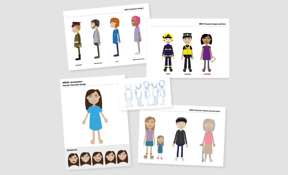 Sample images of character design for the Make Every Contact Count campaign for Royal Borough of Greenwich.