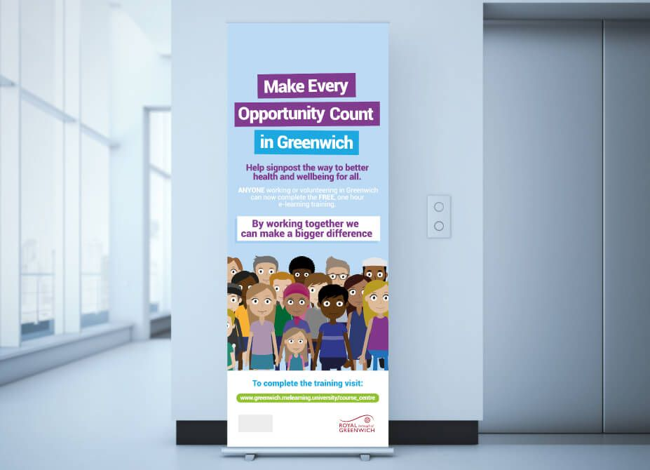 Roller banner design for the Make Every Contact Count campaign, in an office foyer.