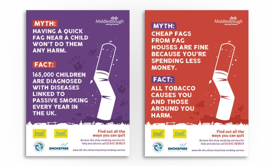 Campaign posters featuring illustrated cigarettes and smoking myths and facts.