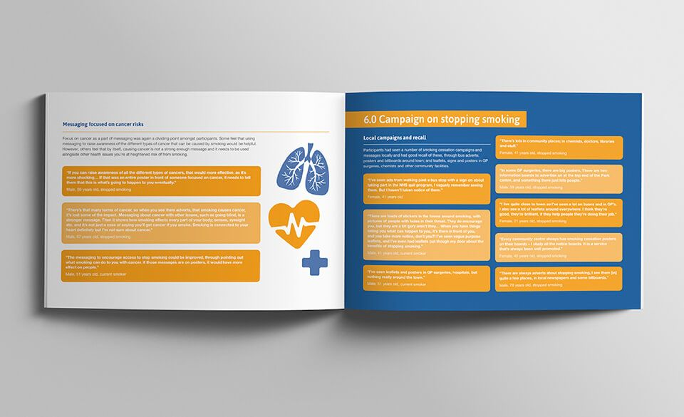 An illustrated insight report opened onto pages detailing cancer risks and local campaign feedback.