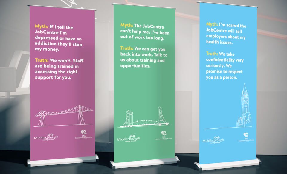 Pop-up banners displaying job centre myths and facts with images of Middlesbrough landmarks.