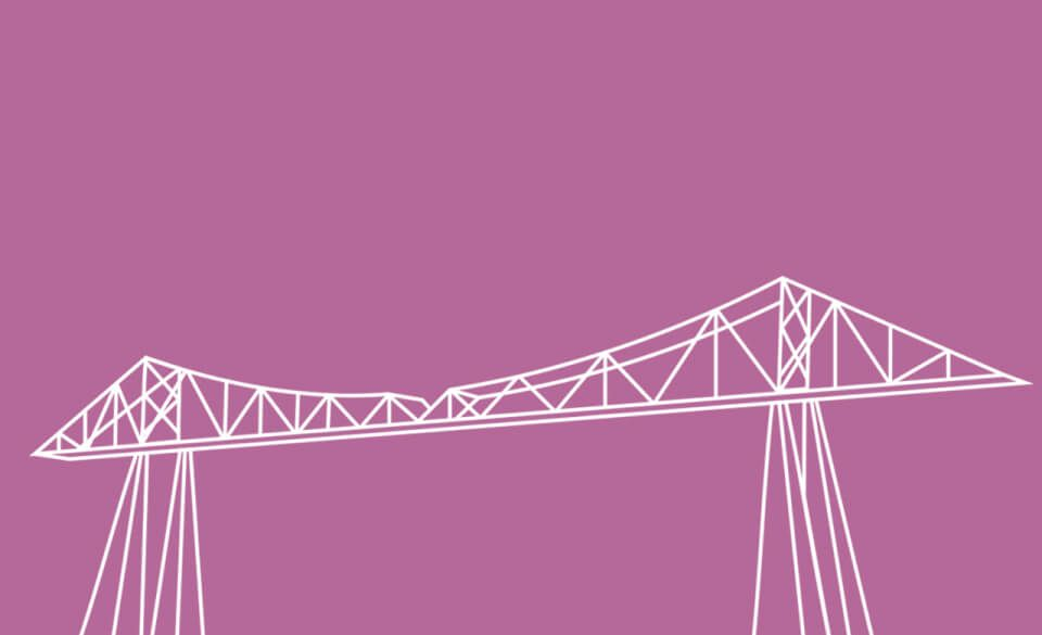 A minimalist line drawing of the Tees transporter bridge in Middlesbrough.