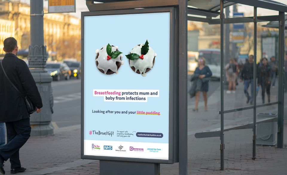 Outdoor advertising for the Christmas campaign at a bus stop.