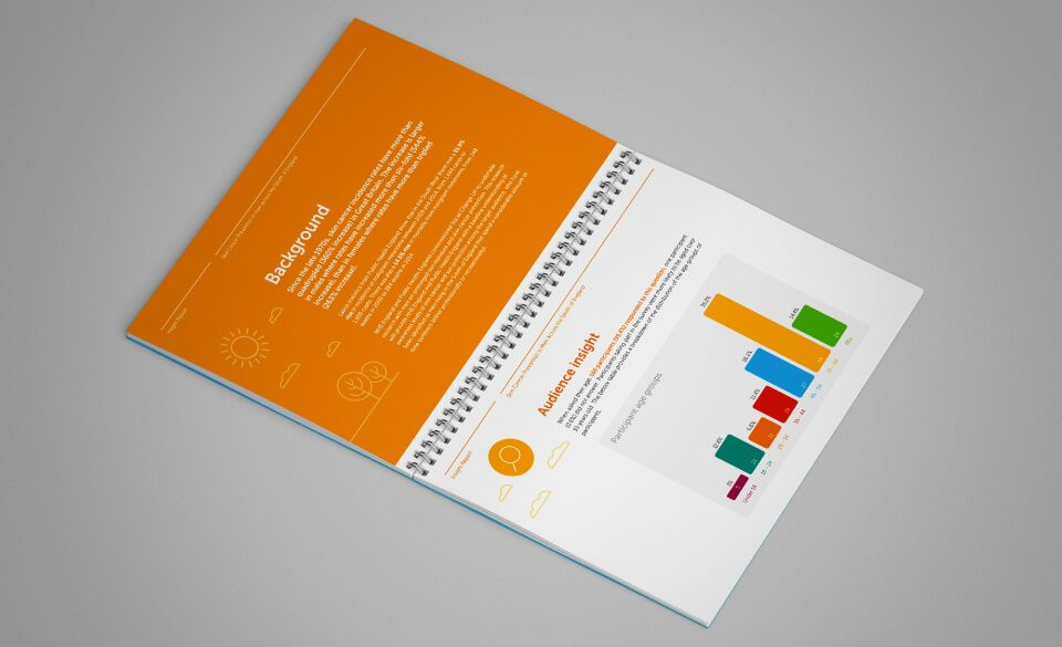 An insight report laid open on a surface revealing pages with colourful bar charts and icons.