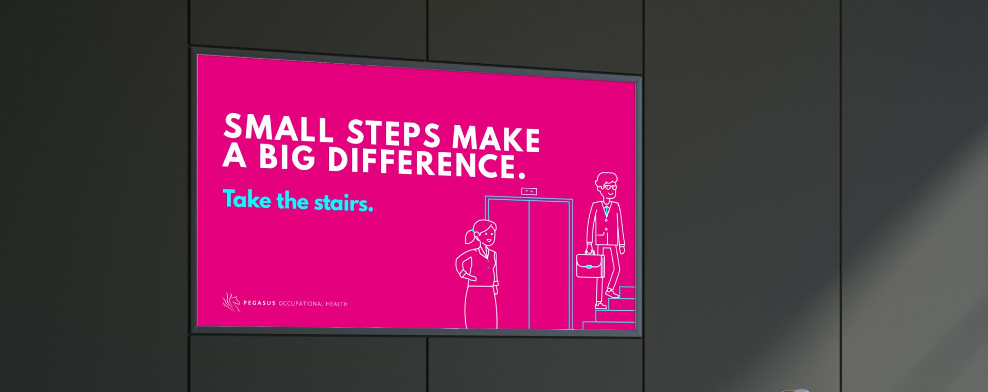 A bright digital display utilising an illustration suggesting employees use the stairs rather than waiting for an elevator.