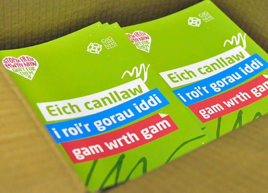 A green leaflet, designed and printed in Welsh for the 'Quit For Them' campaign.