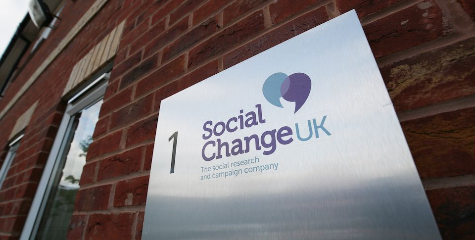 A Social Change UK wall sign from Checkpoint Court in Lincoln.