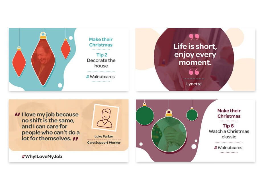 4 designed social media posts featuring christmas messages and carer and care user quotes.