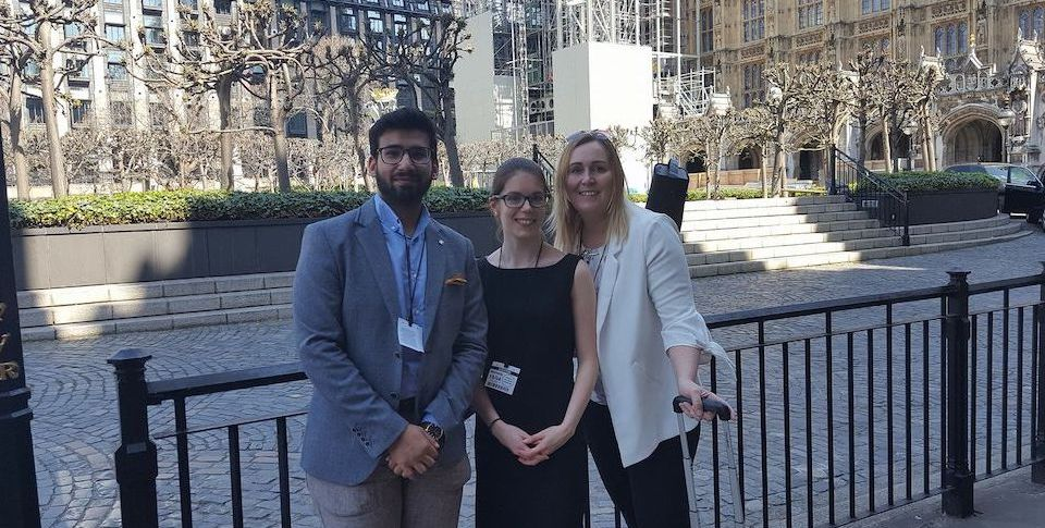 Ammar, Eloise and Kelly are smiling outside of Westminster
