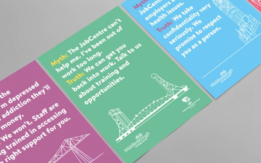 Campaign posters featuring myths and facts about jobcentres with images of Middlesbrough landmarks.