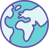 An illustrated globe in Social Change UK colours