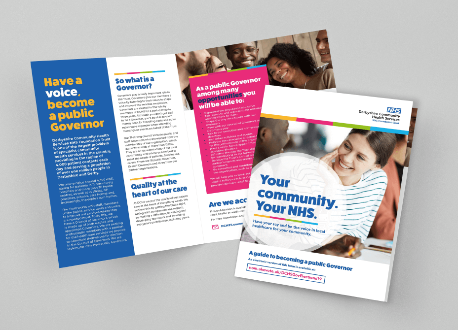 The colourful pages of the NHS guide to becoming a public governor are displayed.